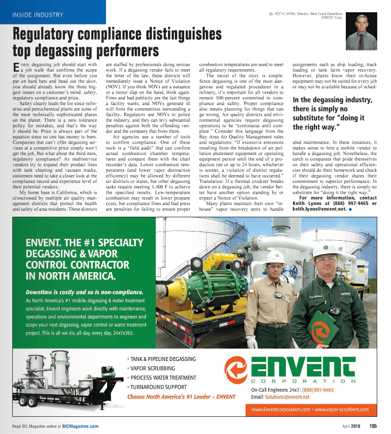Regulatory Compliance Distinguishes Top Degassing Performers - BIC April 2016