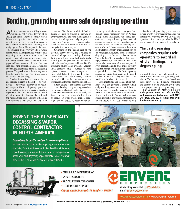 BIC AD - Bonding - Grounding ensure safe degassing operations - June - July 2016