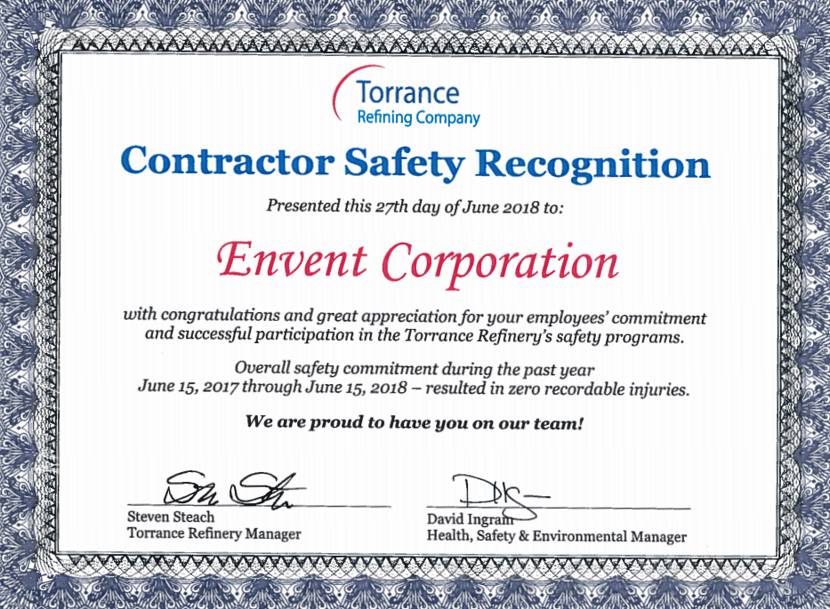 Envent Corporation | PBF Safety 2018